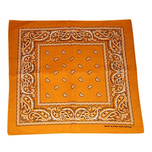 Paisley Bandana Gold (Voberry One Piece Novelty Bandanas Paisley Cotton Bandanas, Vintage Style Accessory Head Wrap (Gold))