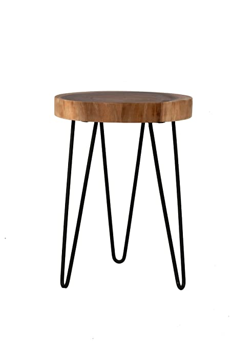 East At Main   Accent Table   Laredo Brown Teakwood Round End Table  (13x13x19)