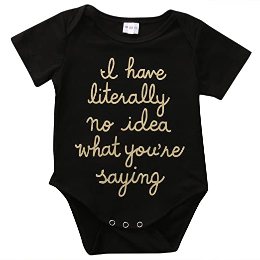 63cad7314 Amazon.com  Cute Newborn Baby Golden Shiny Words Print Short Sleeve ...