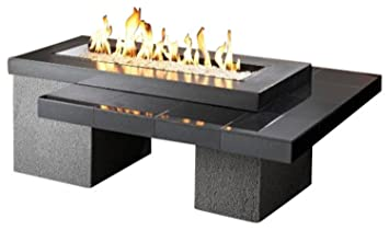 outdoor greatroom uptown gas fire pit with 42x12 inch burner black