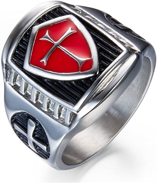 Ring For Men Knights Templar Masonic Stainless Steel Punk Biker Top Quality