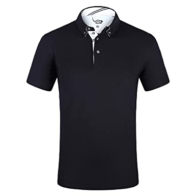fe90f9451ec63 EAGEGOF Men s Shirts Black Short Sleeve Tech Performance Golf Polo Shirt  Loose Fit X-Small
