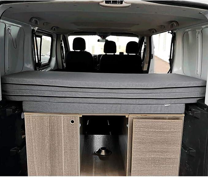 Amazon.es: K´Foam Store Colchón Plegable para Renault Trafic, Opel Vivaro y Nissan Primastar Modelo Combi (2002-2014) 155x190x8 cm Color Gris Furgoneta Camper