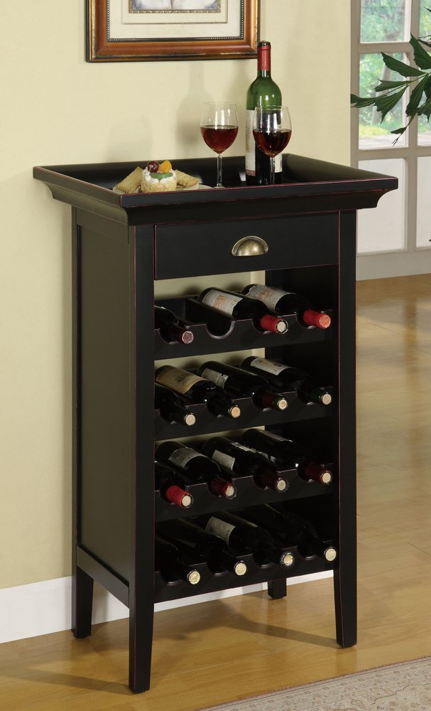 Amazon.com: Powell Black with Merlot Rub through Wine Cabinet ...
