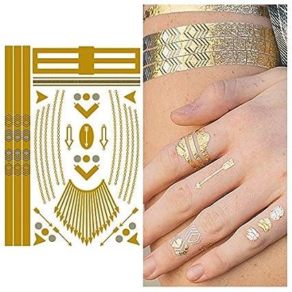 Tatuaje Temporal Tattify - Oro Flecha Collar Hazlo Sencillo ...