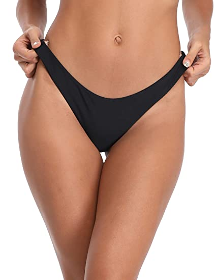 ecfdbc6208 RELLECIGA Women's Black Super Cheeky Brazilian Cut Bikini Bottom Size Small