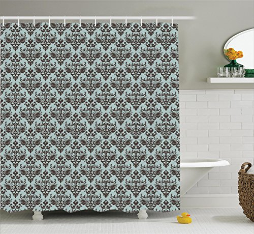 Damask Decor Shower Curtain Set by Ambesonne, Damask Shapes Motif Western Modular Leaves and Rayon Curving Lines Creative Floral Design, Bathroom Accessories, 84 Inches Extralong, Teal Brown