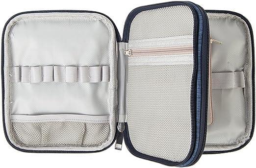 Bloomma Estuche de ganchillo, Bolsa de cremallera organizador de doble capa con bolsillos para varias agujas de ganchillo y accesorios de tejer,7.09 × 5.51 × 1.38 in: Amazon.es: Hogar