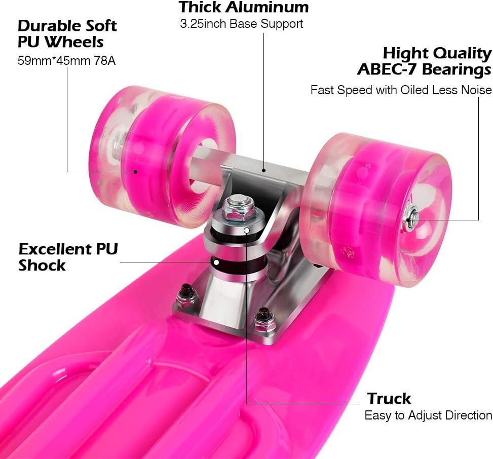PU LED Ruote con all-in-One Skate T-Tool per Principiante Giovani e Adulti BELEEV Skateboard 22 inch Completo Mini Cruiser Retro Skateboard per Bambini