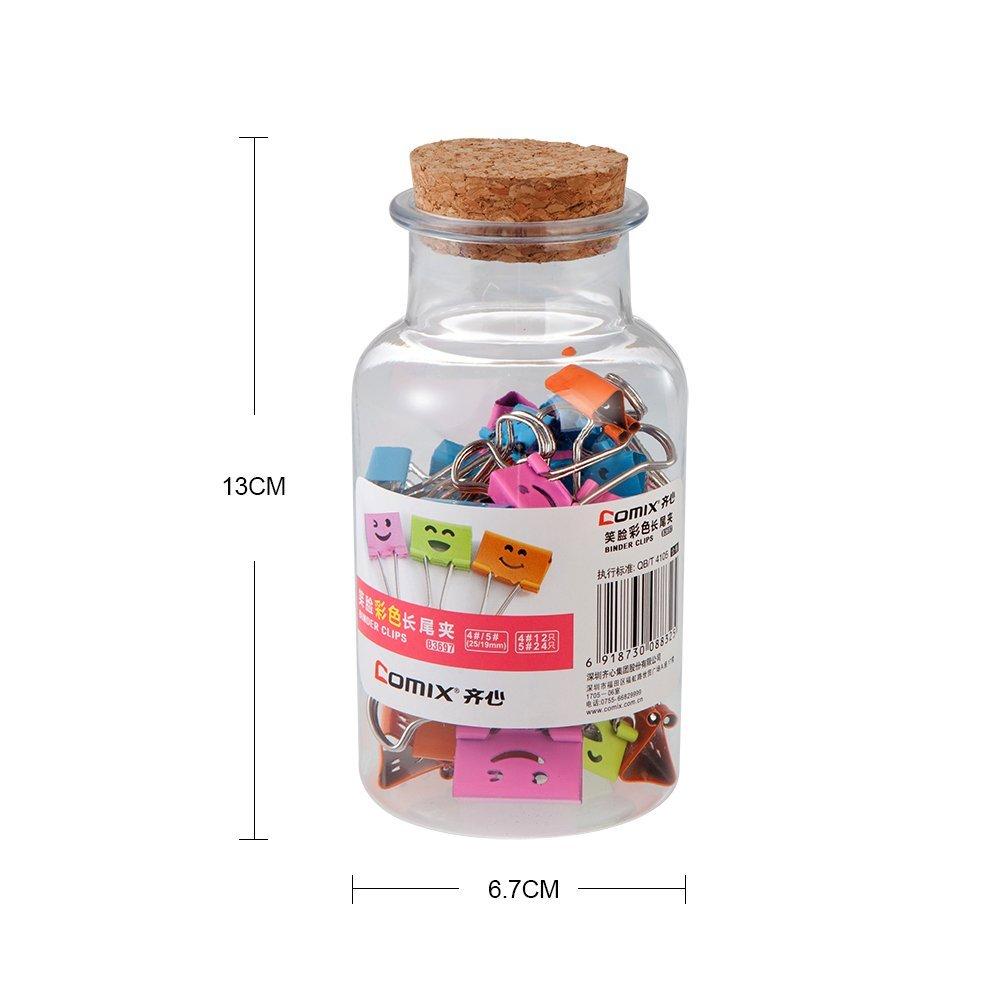 Mignon Emoji Souriant Lot de 2 pots , 25mm 12 pcs + 19mm 24 pcs par pot Couleurs Assorties-B3697 Comix Pinces Double Clip