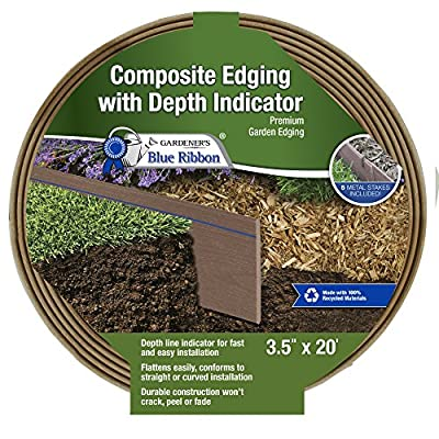 Gardener's Blue Ribbon 903010BR Composite Lawn Edging, One Size, Cedar/Brown