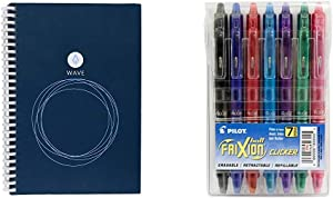 Rocketbook Wave Smart Notebook - Executive & Pilot FriXion Clicker Retractable Erasable Gel Pens Fine Point Assorted Color Inks 7-pk; Make Mistakes Disappear