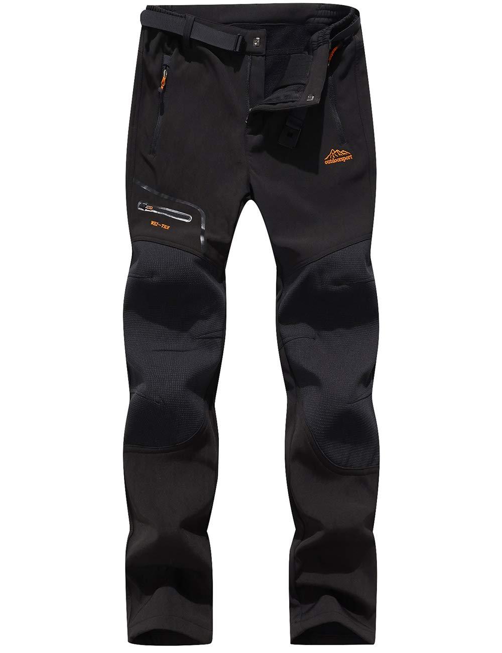 BenBoy Women's Outdoor Waterproof Windproof Fleece Cargo Snow Ski Hiking Pants,SF1602W Black XS by BenBoy