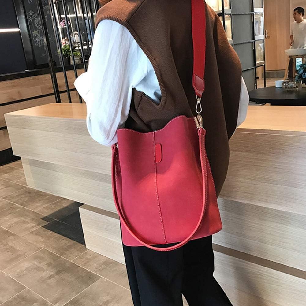 Four Colors Optional Color : C GYZ Womens Simple and Stylish Texture Bucket Bag Retro Broadband Messenger Bag