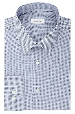 Calvin Klein Men's Non Iron Regular Fit Print Point Collar Dress Shirt