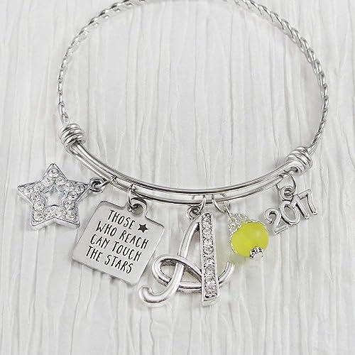 Silver handmade stars bangle charm bracelet