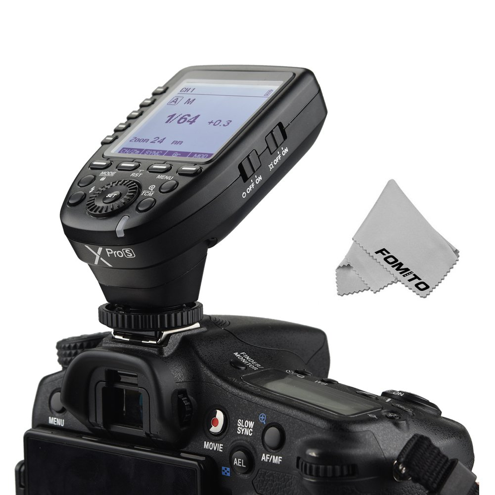 Godox Xpro-S for Sony TTL Wireless Flash Trigger 1/8000s HSS TTL-Convert-Manual Function Large Screen Slanted Design 5 Dedicated Group Buttons Bulit-in 2.4G X System
