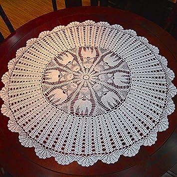 hoomy Vintage mano Cobertores de mantel para mesa de comedor mesa de café mesa redonda, diseño floral mantel manteles de ganchillo encaje de algodón, ...