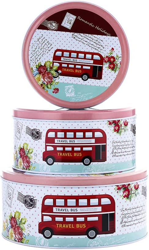 Set of 3 Bus Cookie Tins DIY Candy Containers Food Storage Tins Extra Thick Metal Food Storage