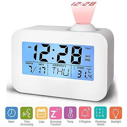 Hangrui Reloj Despertador de proyección Digital, Reloj con Pantalla LCD Control de Voz Sonido de