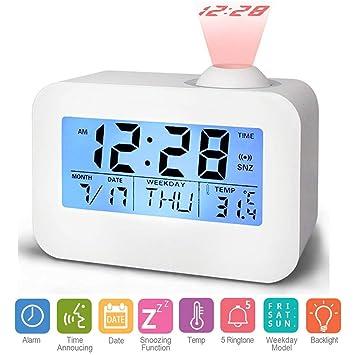 Hangrui Proyección Digital Despertador,LCD Pantalla Reloj Alarma Voz Control de Sonido de Transmisión con Fecha,Temperatura Función Snooze Despertador para ...