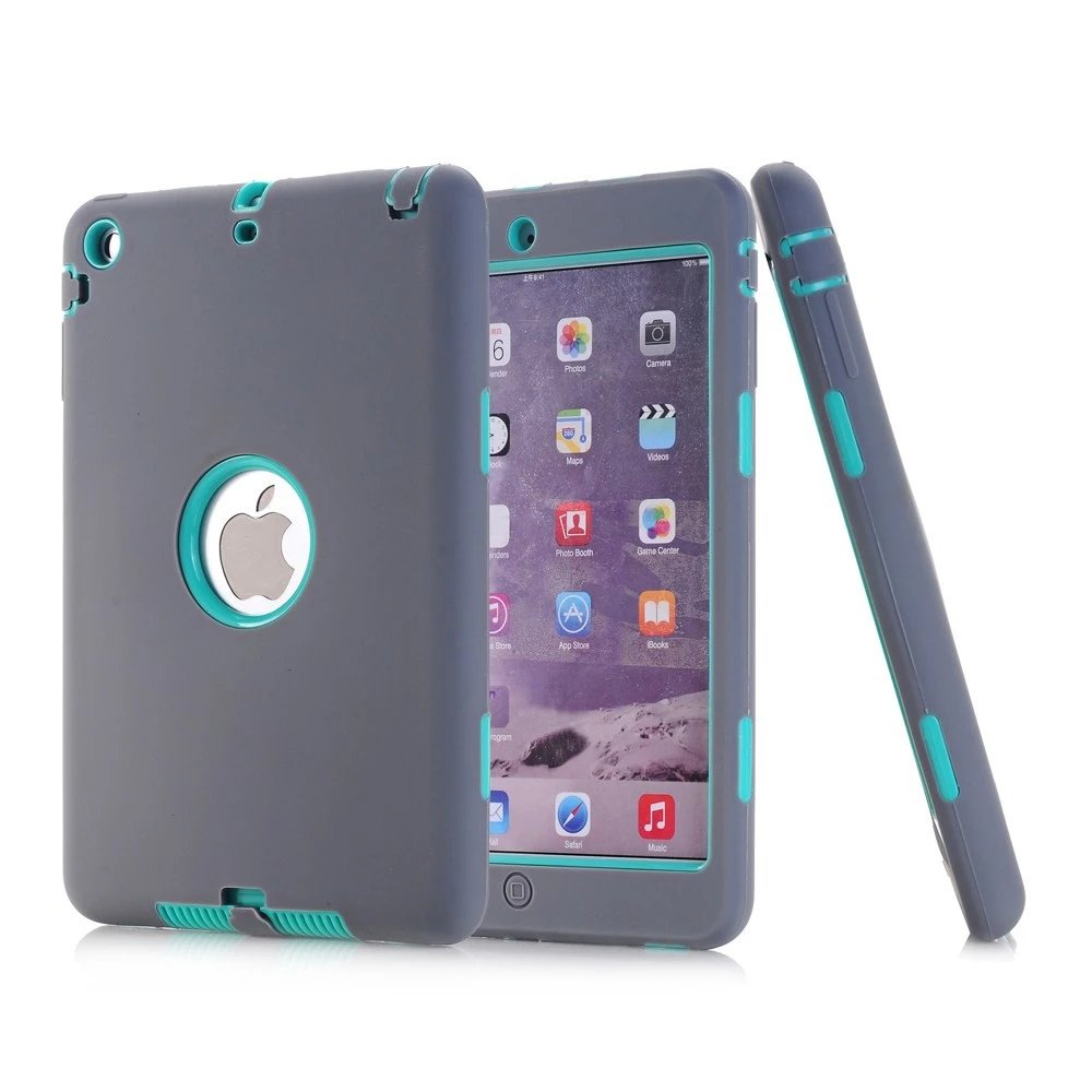 iPad Mini 2 Case, iPad Mini 3 Case, NOKEA [kids-friendly] Shock-Absorption Three Layer Armor Defender Full Body Protective Cover for Apple iPad mini 1/2/3 (Grey Aqua)