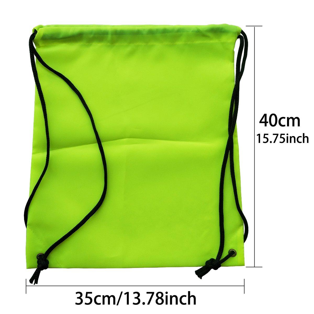 6 Pack Drawstring Backpack Bags 420D polyester fabric Folding Shoulder Cinch Bag by Topspeeder (Image #2)