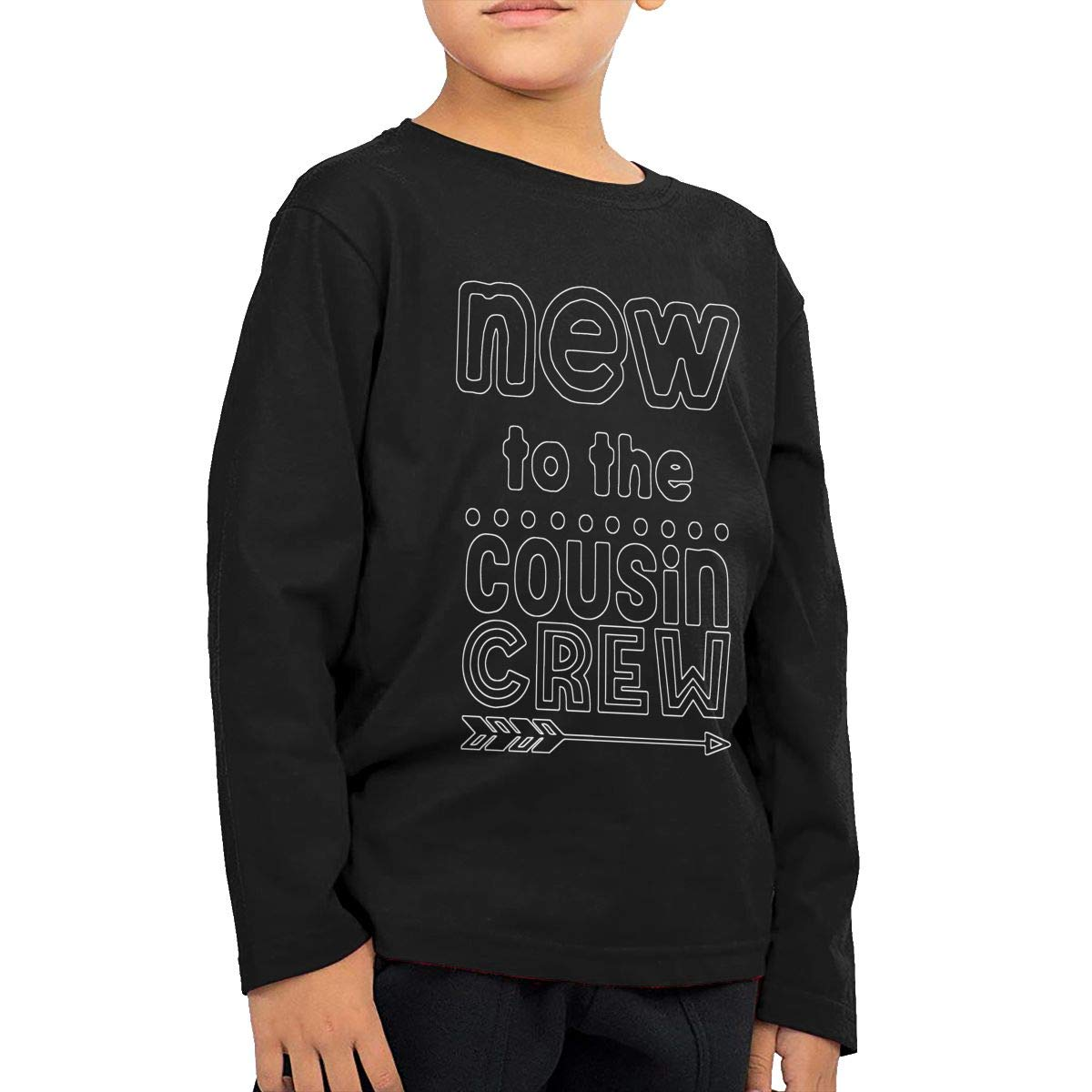 New to The Cousin Crew Childrens Black Cotton Long Sleeve Round Neck T Shirt for Boy Or Girl