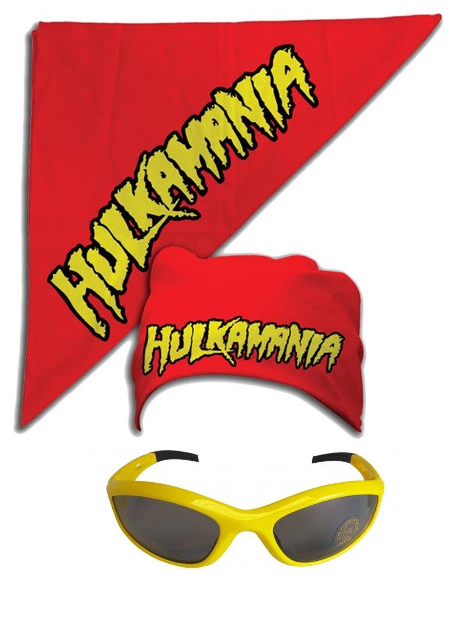 Hulk Hogan Hulkamania Bandana Sunglasses Costume -Red-Yellow by TNA