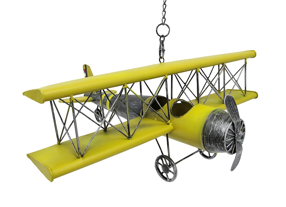 Amazon.com: Yellow Vintage Metal Bi-Plane Hanging Decor Retro: Home ...