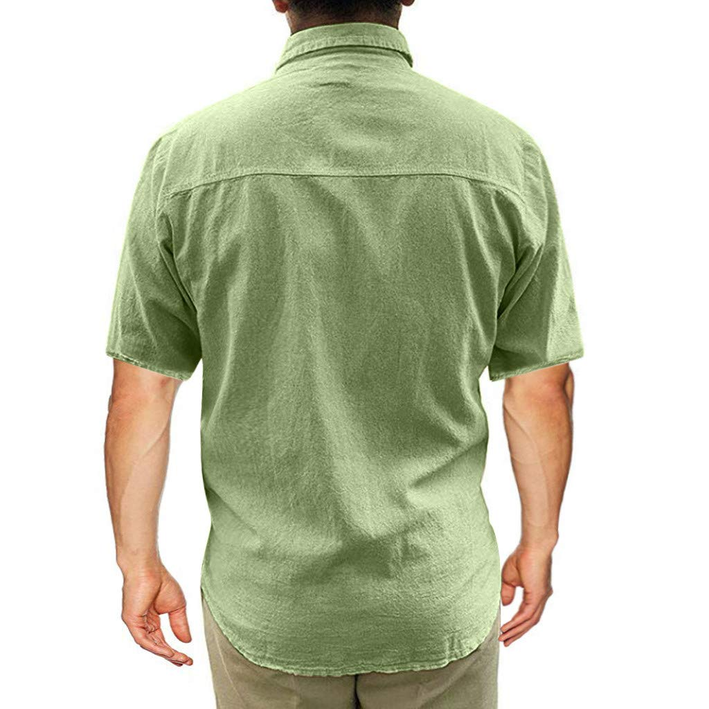 DDLmax Mens Linen Shirt Casual Button Down Short Sleeve Cotton Curved Hem Lightweight Basic Regular Fit Summer Beach Tops