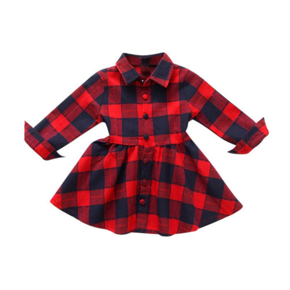 f43cb128e Doubleer Girls Autumn Dress England Style Plaid Long Sleeve Baby Girls Dress  Shirt Dress For 1-6 Years: Amazon.co.uk: Clothing