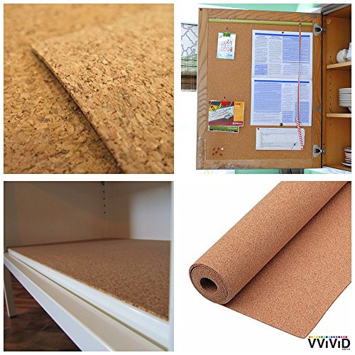 Natural Cork Board Textured Vinyl Wrap Underlayer Contact Shelf Paper Adhesive Roll Drawer Liner (17.8