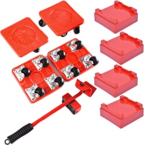 UBEI Furniture Move Tool Kit with 4 Sliders,4 Adjustable Heightening Pads, 1 Furniture Lifter, Easy Moving Tool Roller Heavy Duty Furniture Lifter 880-lb Load Capacity (Red)