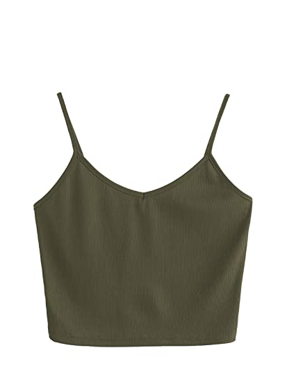 SheIn Women s Casual V Neck Sleeveless Ribbed Knit Cami Crop Top Army Green  X-Small