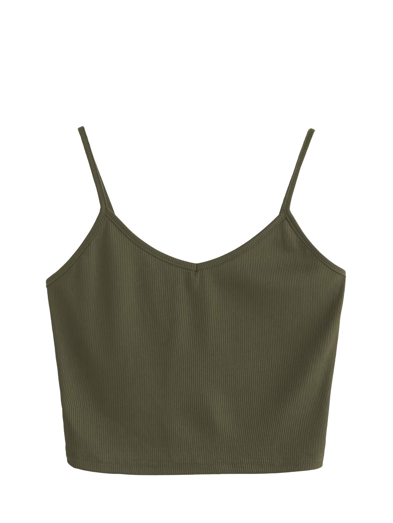 SheIn Women's Casual V Neck Sleeveless Ribbed Knit Cami Crop Top