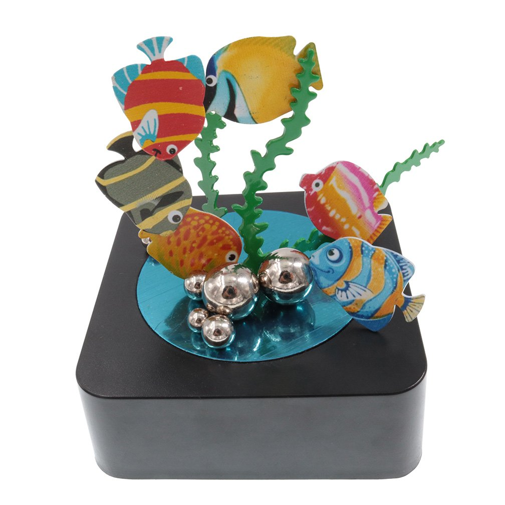 bylion Magnetic Sculpture Desk Toy Stress Reliever Decoration for All Ages Square Base and Colorful Fish