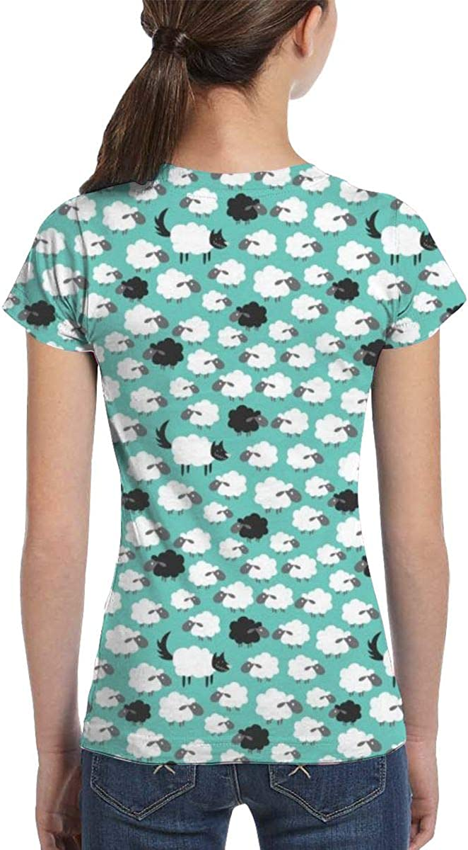 White Black Sheep Pattern Crew Neck Full Printed Summer Casual Top Tees Ghaiding Girls Short Sleeve T-Shirts