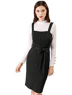 fbd28ea9368 Allegra K Women s Button Decor Strap Sheath Suspender Overall Jumper Dress