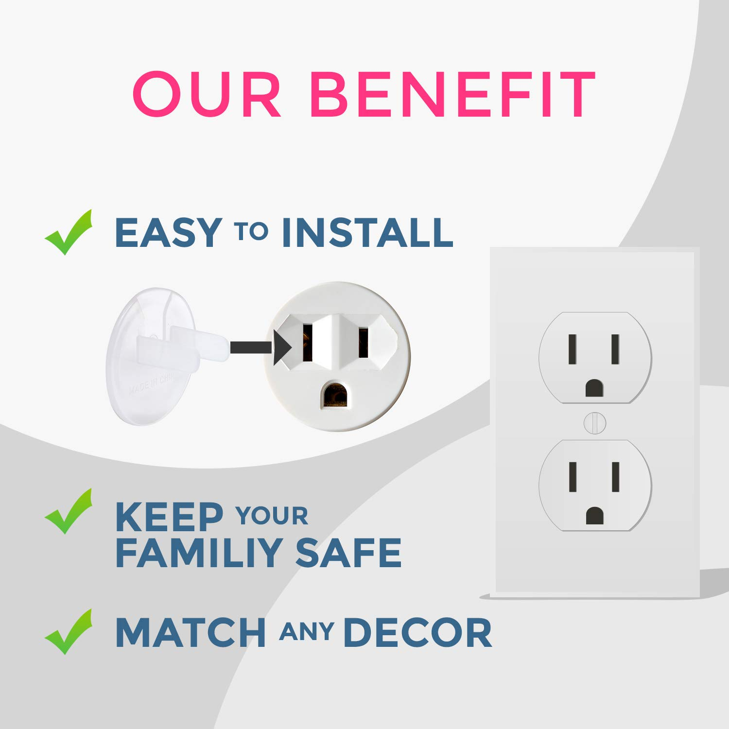 Sturdy Plug Protectors by Baby Tales Bonus Door Pinch Guard Large Outlet Plugs Covers Baby Safety Clear Electric Outlet Covers Baby Proofing 40-Pack Tight Sure Fit Child Proofing Socket Covers