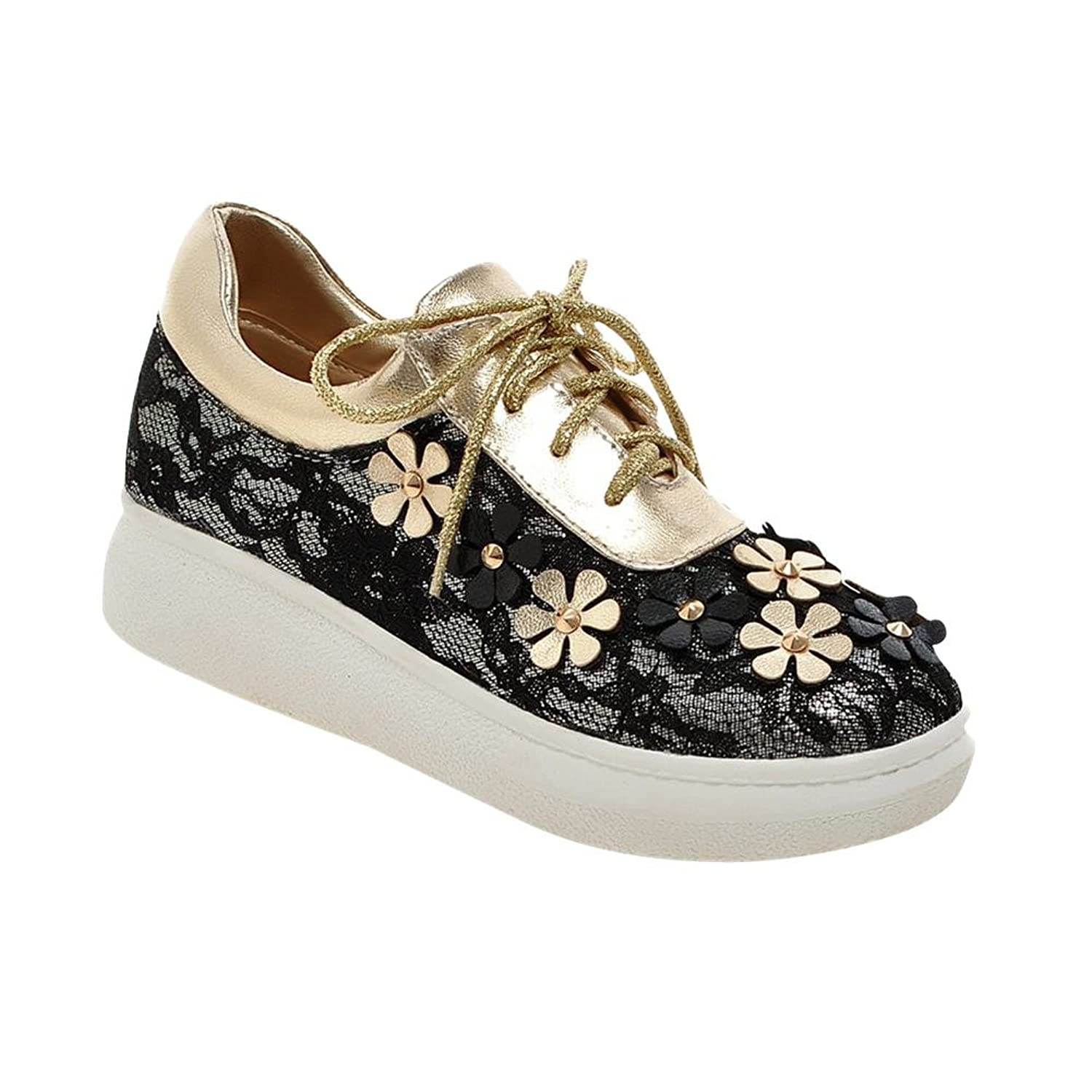 Latasa Womens Cute Lace & Flowers Lace-Up Flat Oxfords Shoes