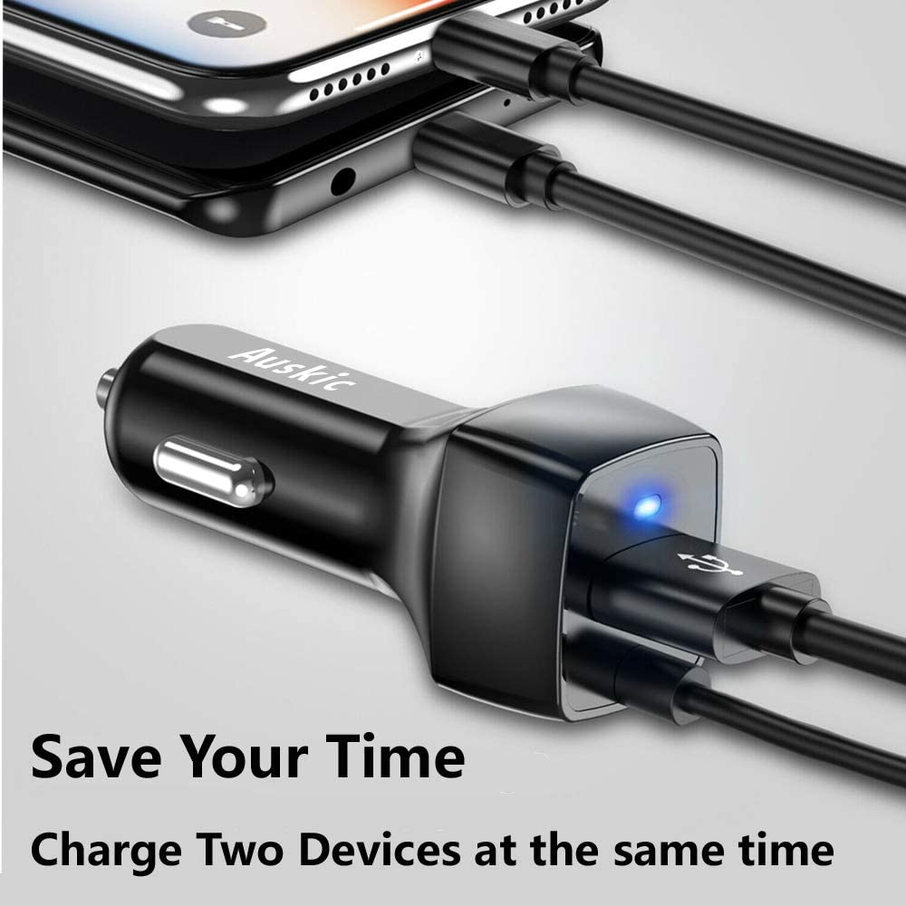 USB C Car Charger for Samsung Galaxy S10 Plus//S10//S10e//S9//S8+//S9+//Note 10 Plus//10//9//8 with Auskic 3.3ft USB C Cable Google Pixel 4 XL//4//3 XL//3//2//2 XL//XL//3a//3a XL//C Car Charger