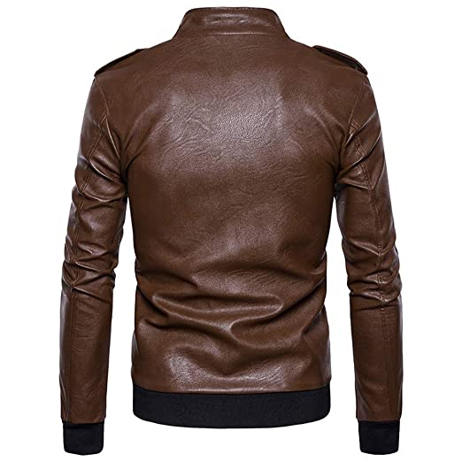 Amazon.com: WM & MW Mens Bomber Jacket Fashion Casual Solid Zipper Button Stand Collar Imitation Leather Jacket Coat Outwear: Clothing