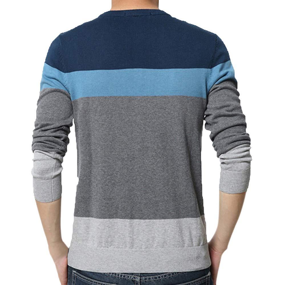 Elogoog Mens Color Block Sweater Comfort Winter Crew Neck Knitted