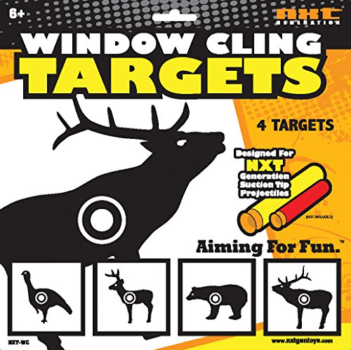 NXT GENERATION Animal Window Cling Target Kit 4 Pack, black/White - 2 Bucks, 1 Bear, 1 Turkey - For Suction Cup Foam Dart Projectiles