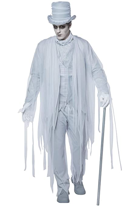 Victorian Men's Costumes: Mad Hatter, Rhet Butler, Willy Wonka California Costumes Mens Haunting Gentleman Adult Man Costume White/Gray Extra Large $60.59 AT vintagedancer.com