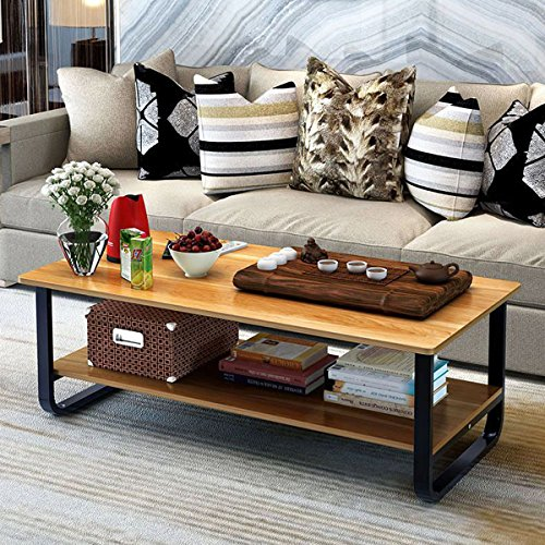 Rectangular Coffee/Tea Table with Storage Shelf (Wood) by Elevens (Image #5)