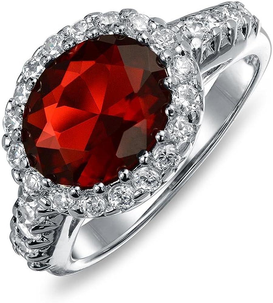 Bling Jewelry Estilo de Época Color Rubí Corona CZ Anillo de Compromiso