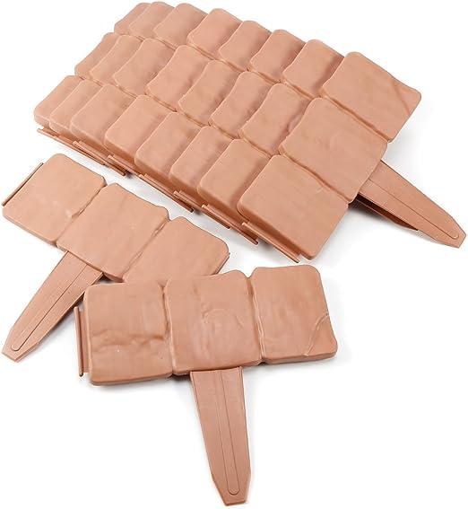 10 piezas Mini Valla para jardín Bordura de plástica Diseño de piedra: Amazon.es: Jardín
