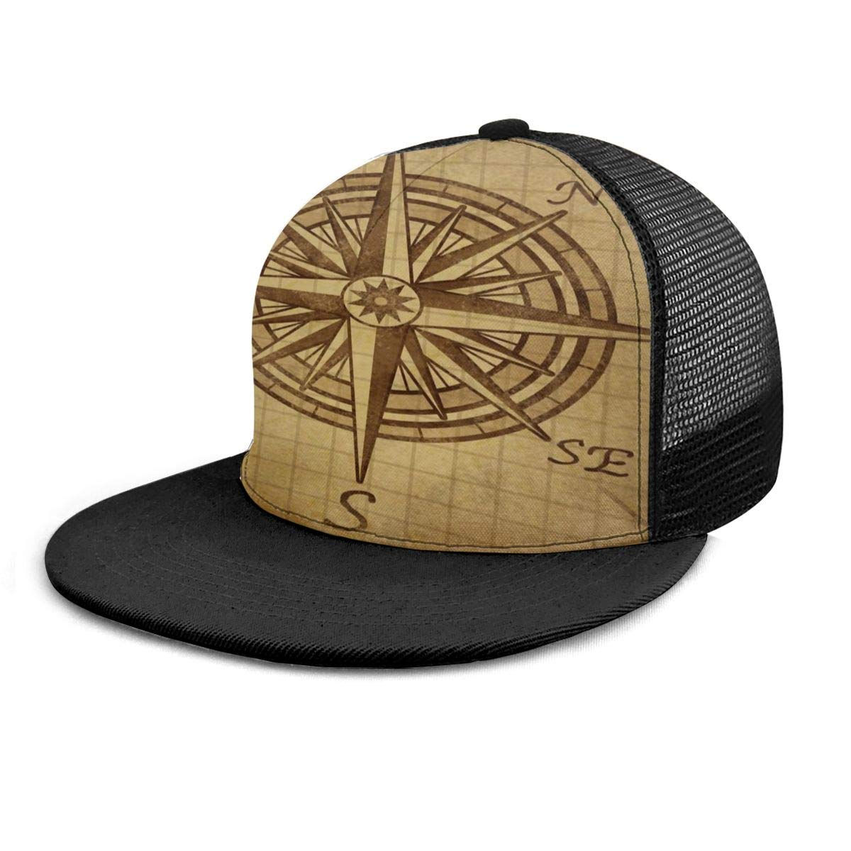Mens and Womens 100/% Polyester Vintage Nautical Compass Baseball Cap Classic Trucker Baseball Cap for Unisex